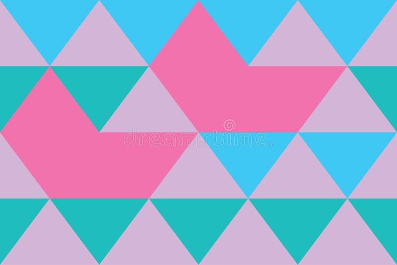 Masern Sie blaues Tapetenrosa des modernen Hintergrundfarbfahnendreiecks stockbilder