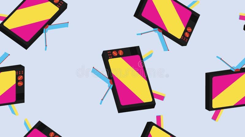 Masern Sie isometrisches ` s, 80 ` s, 90 ` s Fernsehen 70 nahtloses des Musters altes hipstersih Weinlese Retro- Der Hintergrund  vektor abbildung