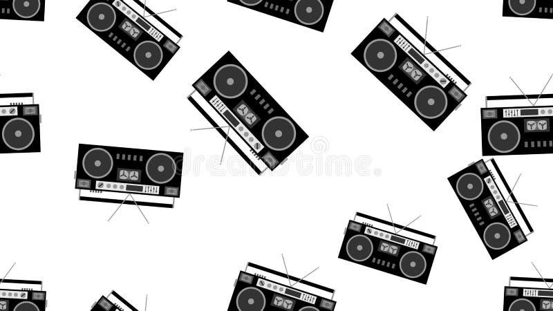 Masern Sie nahtloser alter Retro- Schwarzweiss-Hippie-musikalischen Audiorecorder des Musters für Filmaudiokassetten vom 80 ` s,  lizenzfreie abbildung
