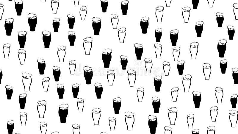 Masern Sie nahtloses Muster vieler farbigen Gläser Becher mit dunklem Lager des schaumigen Bierkaltlichts und Stoutträger vektor abbildung