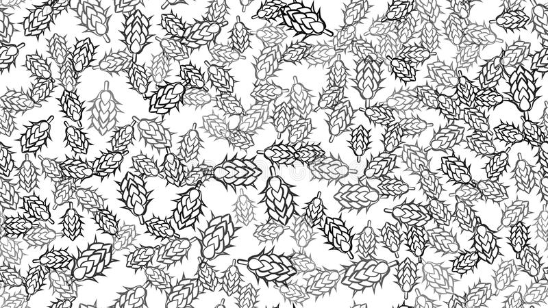 Masern Sie nahtloses Muster vieler farbigen natürlichen Blumen der Hopfenanlagen für Bierhopfen für das Brauen Auch im corel abge lizenzfreie abbildung
