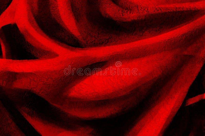 Masern Sie roten Hintergrund mit schwarzen mannigfaltigen Wellen und glatten Linien stockbild