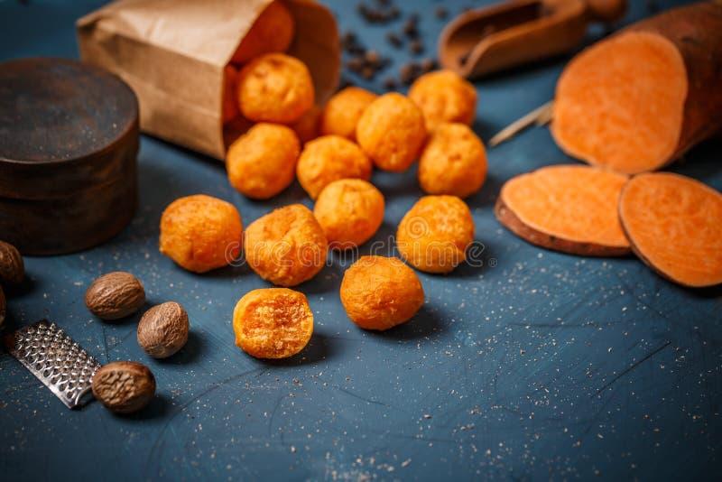 Mashed sweet potato balls stock photo