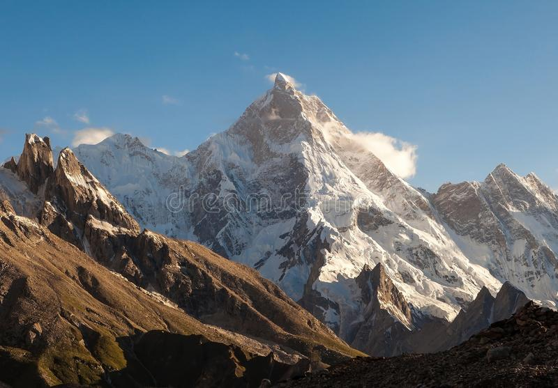 Masherbrum Peak from Goro II camp site during K2 base camp trek royalty free stock image