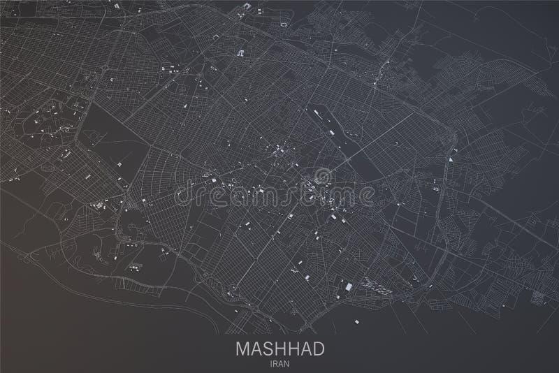 Mashhad Map Satellite View Iran Stock Illustration Illustration