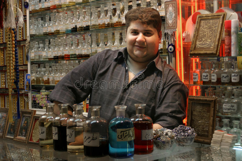Parfum store at the bazaar of Mashhad, Iran stock photo