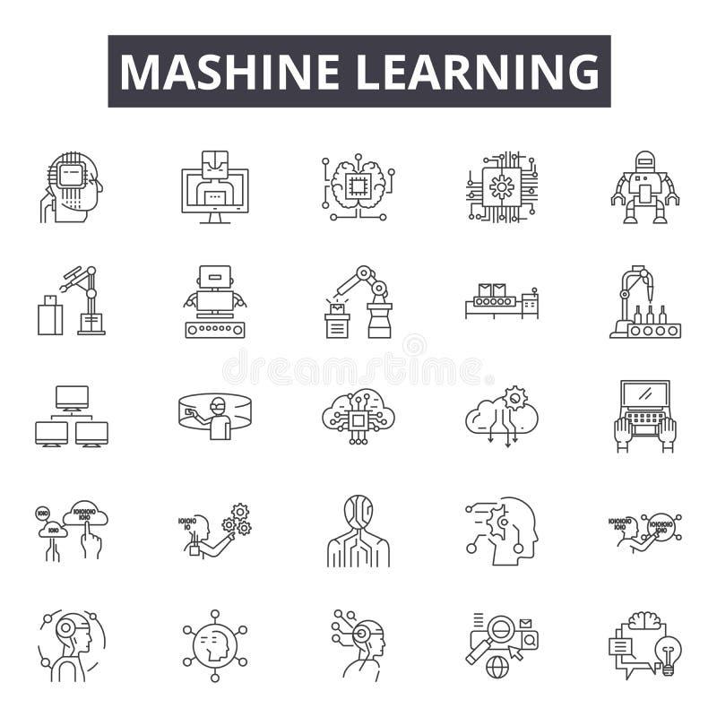 Mashine que aprende a linha ícones, sinais, grupo do vetor, conceito da ilustração do esboço ilustração royalty free