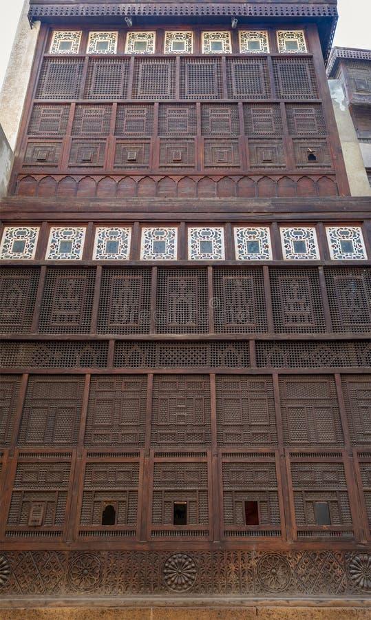 Mashrabiya facade at El Sehemy house, an old Ottoman era house in medieval Cairo, Egypt. Originally built in 1648 royalty free stock photos