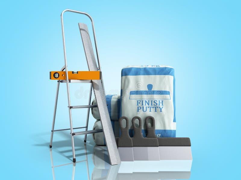 Masilla del final de la teja en el paquete al lado de las herramientas 3d rendir en pendiente azul stock de ilustración