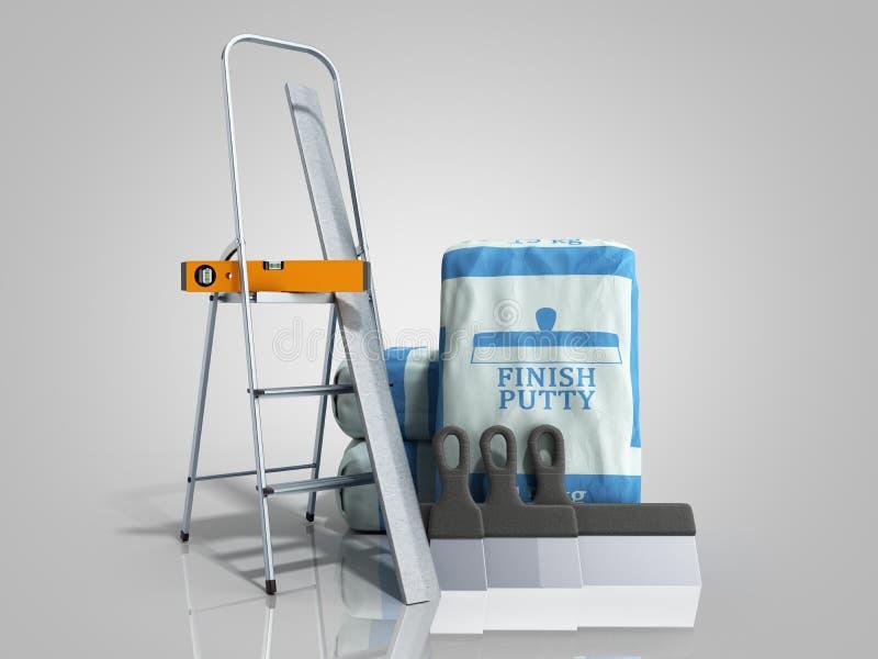 Masilla del final de la teja en el paquete al lado de las herramientas 3d rendir en pendiente gris libre illustration