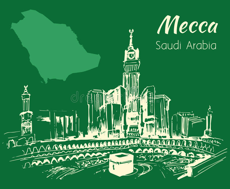 Masjid al-Haram och Abraj Al Bait skissar Mecka stock illustrationer