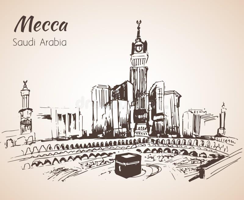 Masjid al-Haram och Abraj Al Bait skissar Mecka royaltyfri illustrationer