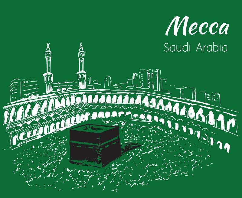 Masjid al-Haram skissar Mecka vektor illustrationer