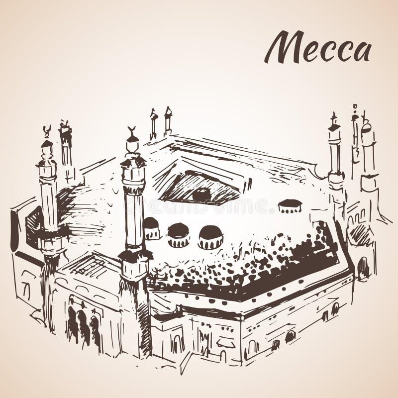 Masjid al-Haram skissar Mecka royaltyfri illustrationer