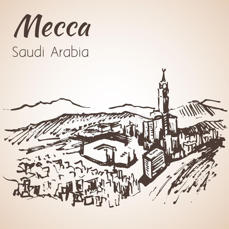 Masjid al-Haram skissar Mecka På grön bakgrund vektor illustrationer
