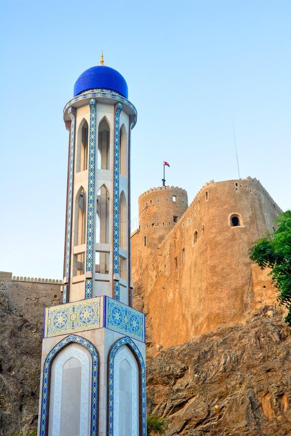 Masjid Al Khor Mosque e Al Mirani Fort foto de stock royalty free