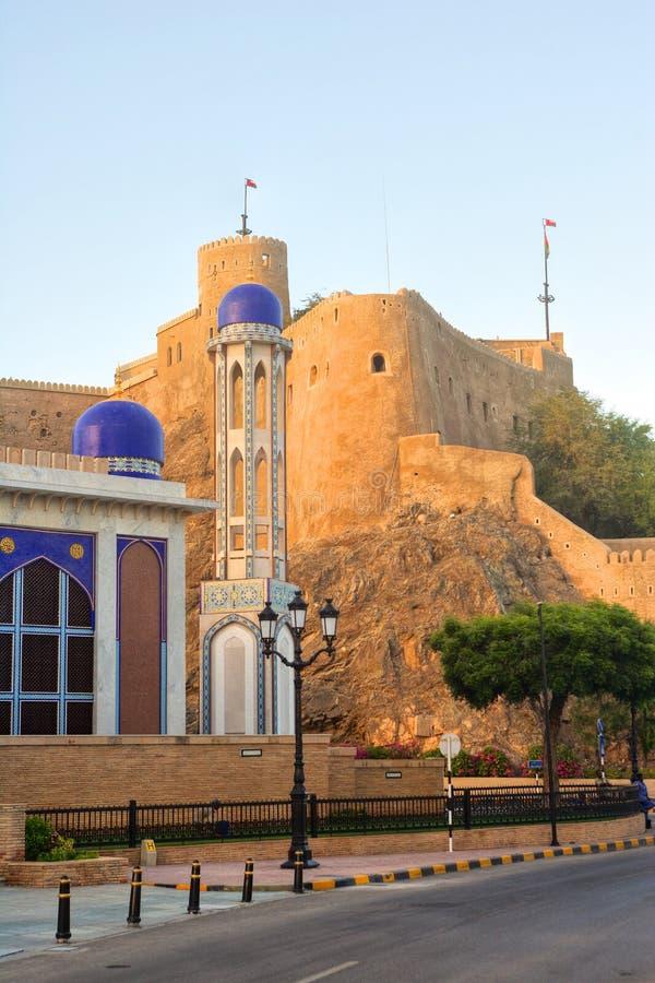 Masjid Al Khor Mosque e Al Mirani Fort fotografia de stock royalty free