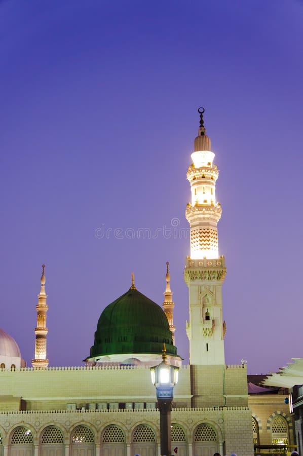 Masjid Al Nabawi lub Nabawi meczet przy słońcem (meczet profet) zdjęcie royalty free