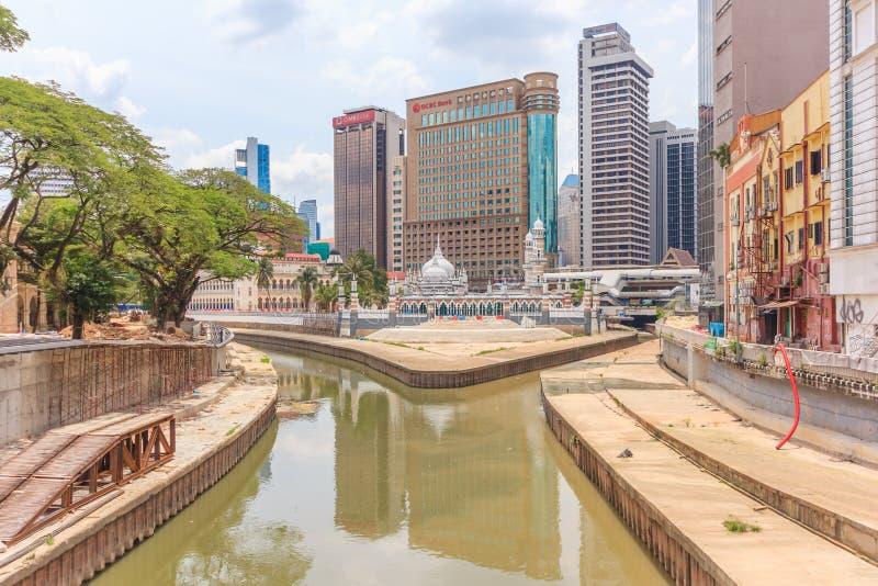 Masjid Jamek历史的清真寺在吉隆坡,马来西亚 免版税库存图片