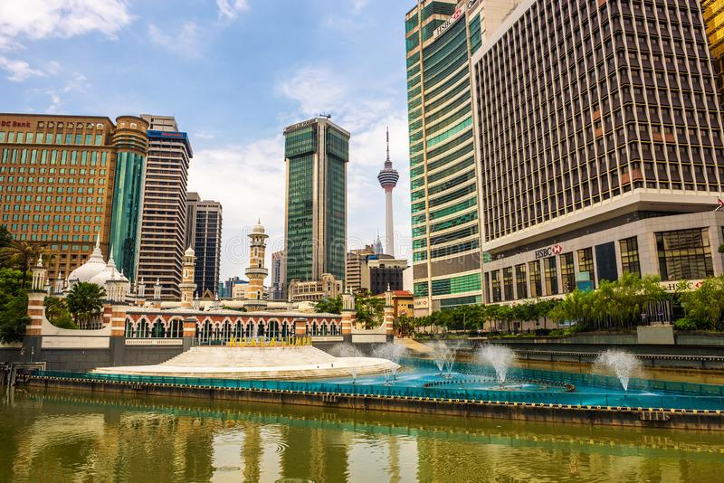Masjid Jamek清真寺在吉隆坡,马来西亚的中心 免版税库存图片