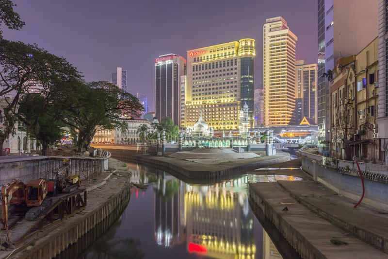 Masjid Jamek przy nocą, Kuala Lumpur, Malezja zdjęcie royalty free