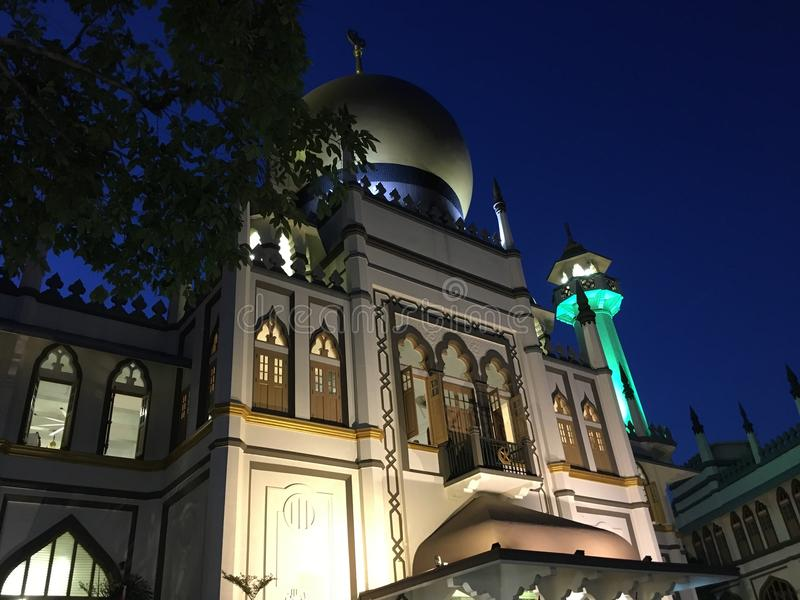 Masjid Sultan mosque singapore at night royalty free stock photo