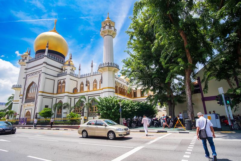 Masjid Sultan, Singapore Mosque in historic Kampong Glam with golden dome  and huge prayer hall. landmark and popular for tourist royalty free stock image