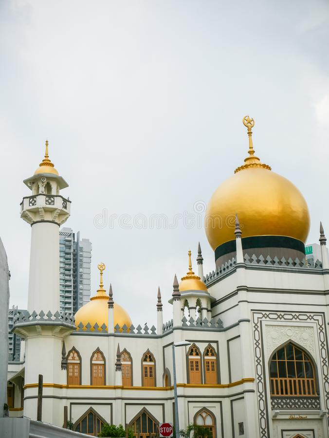 Masjid Sultan or Sultan Mosque with Gold Dome in Singapore. Masjid Sultan or Sultan Mosque with Gold Dome located in Arab street in Singapore stock images