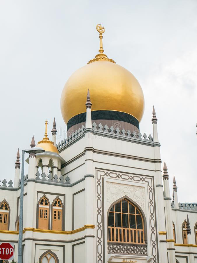 Masjid Sultan or Sultan Mosque with Gold Dome in Singapore. Masjid Sultan or Sultan Mosque with Gold Dome located in Arab street in Singapore royalty free stock photos