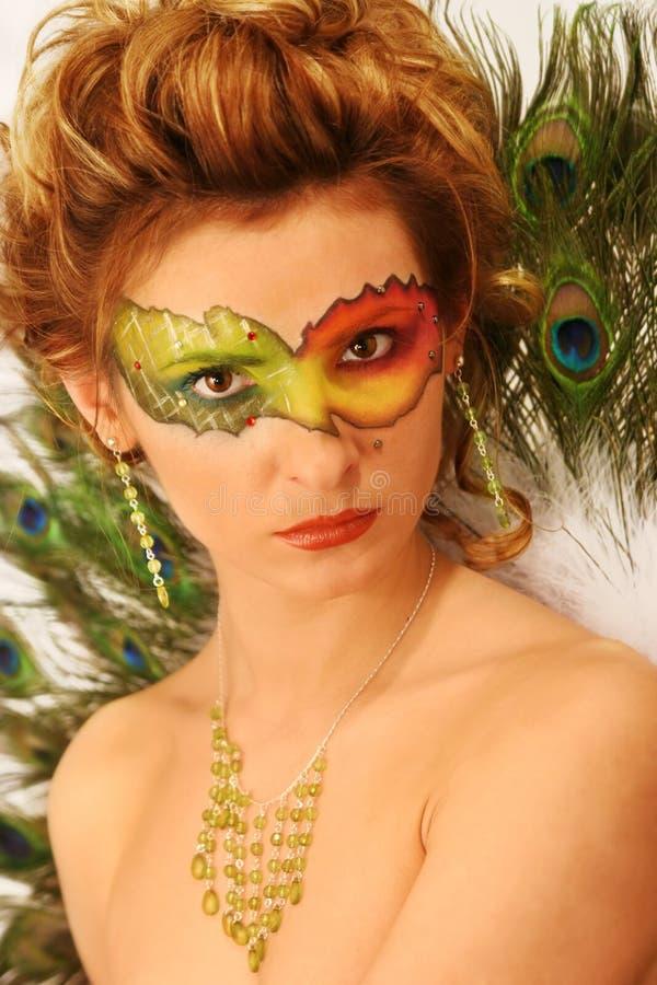 Woman Fantasy Makeup, Fashion Model Mask Make Up, Carnival Face Color stock image