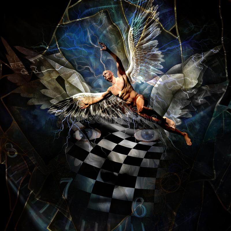 Mask and Angel. Surrealism. Eyes, face with chessboard pattern. Spiral of time. Naked man with wings represents angel. Human elements were created with 3D vector illustration