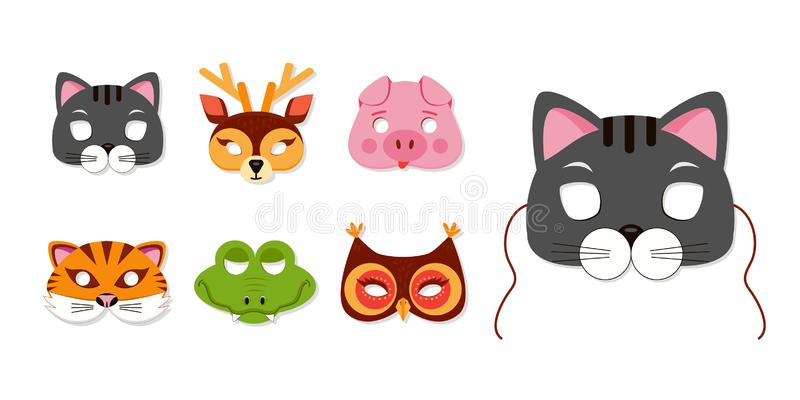 Mask of animals for kids birthday or costume party vector illustrations stock illustration