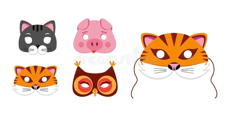 Mask of animals for kids birthday or costume party vector illustrations royalty free illustration