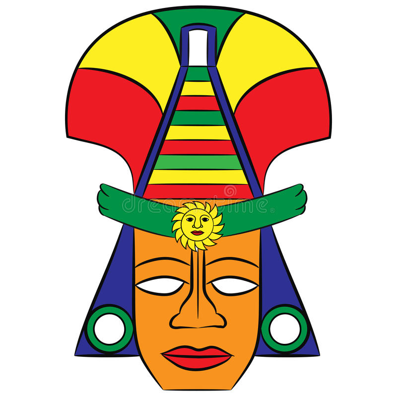 Mask Aztec ancestors of Mexico on a white background. Hand-drawn Mask Aztec ancestors of Mexico on a white background royalty free illustration