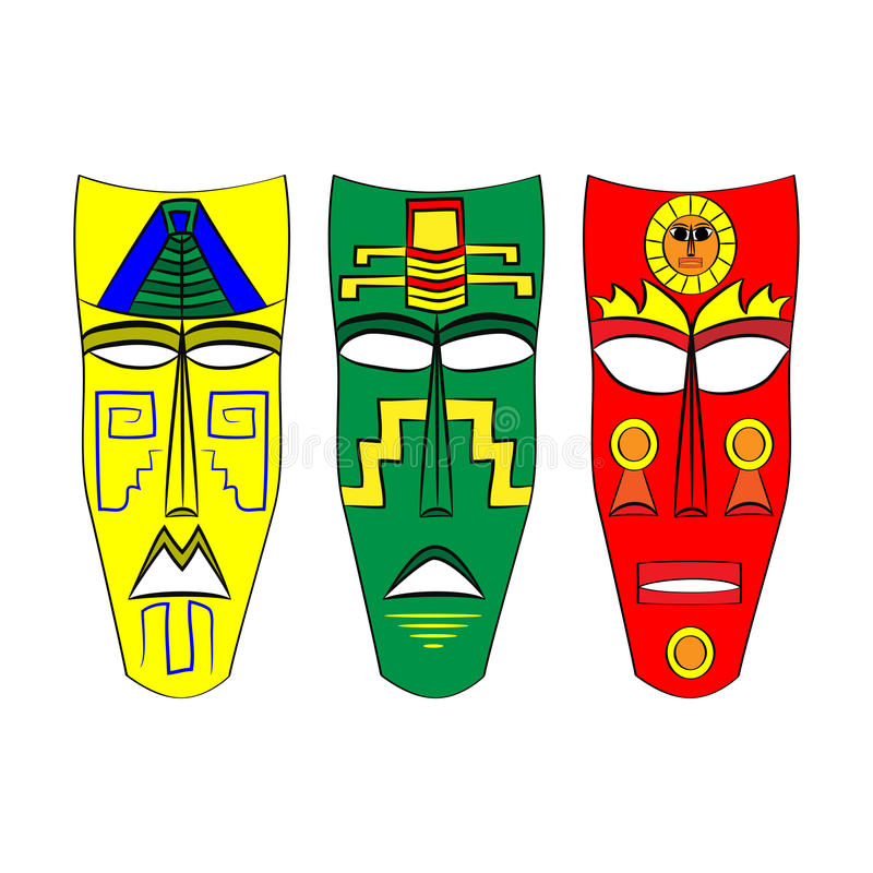 Mask Aztec ancestors of Mexico on a white background. Set Mask Aztec ancestors of Mexico on a white background vector illustration