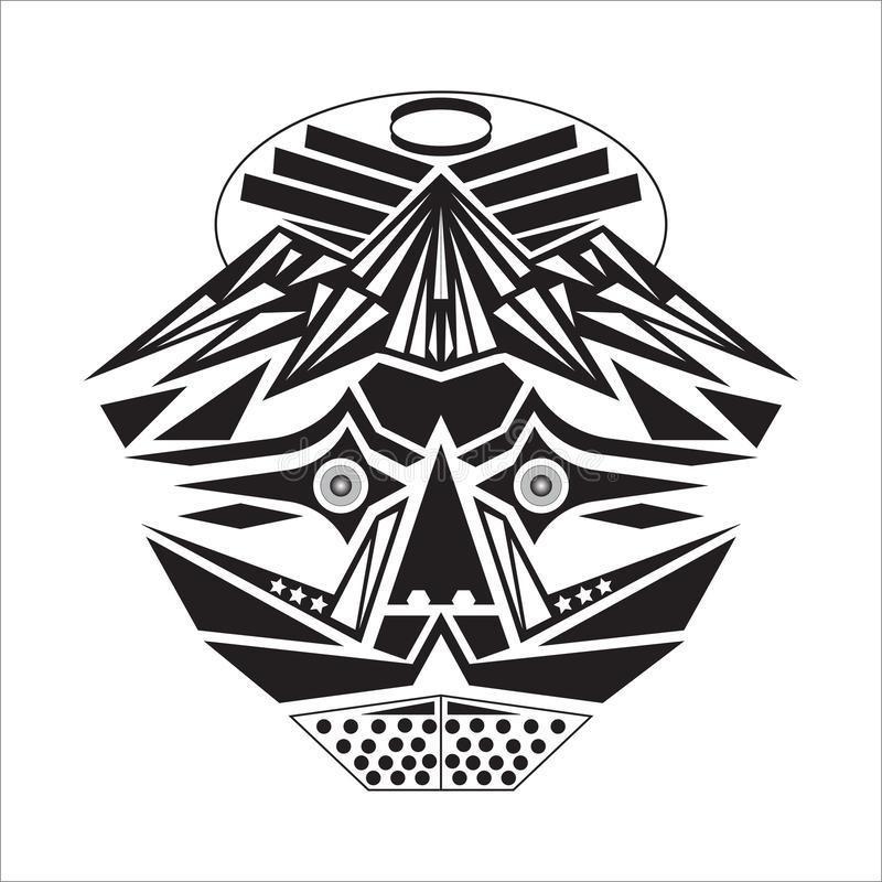 Mask with a basic shape, and in black and white. On the white background vector illustration