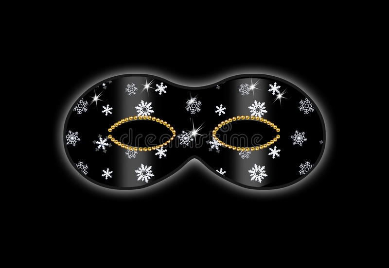 Mask black. Mask carnival, children parties background. Color illustrations. Black mask with white snowflake on a black background. To celebrate the children's stock illustration