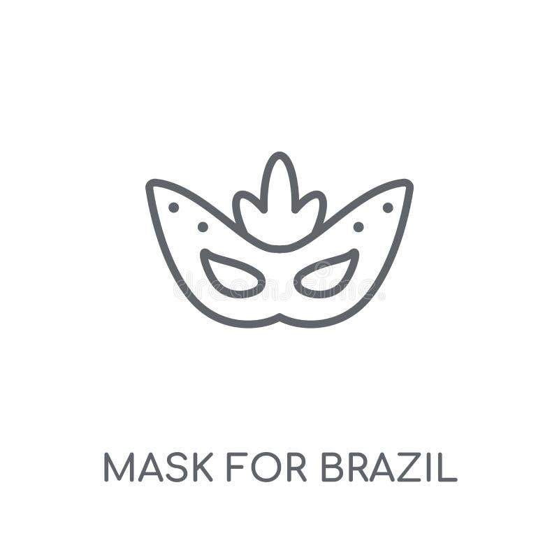 Mask for Brazil carnival celebration linear icon. Modern outline stock illustration