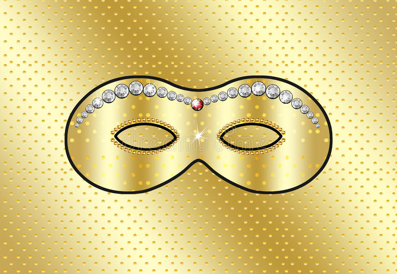 Mask carnival. Mask Holiday background. Carnival, children parties. Color illustrations. Gold mask with diamonds on a gold background. To celebrate the children' stock illustration