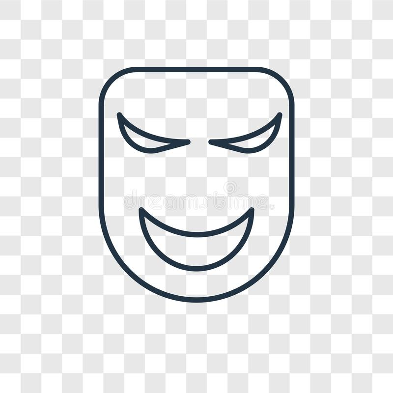 Mask concept vector linear icon isolated on transparent background, Mask concept transparency logo in outline style royalty free illustration