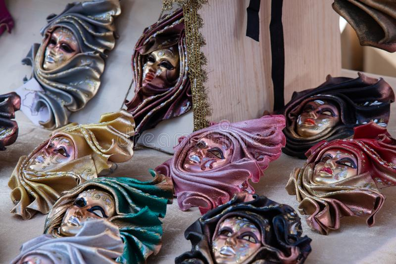 Typical Venetian carnival masks, Vintage. Halloween royalty free stock photos