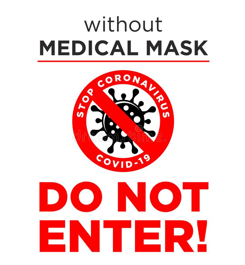 No Mask No Entry Rule Red Square Rubber Seal Stamp On