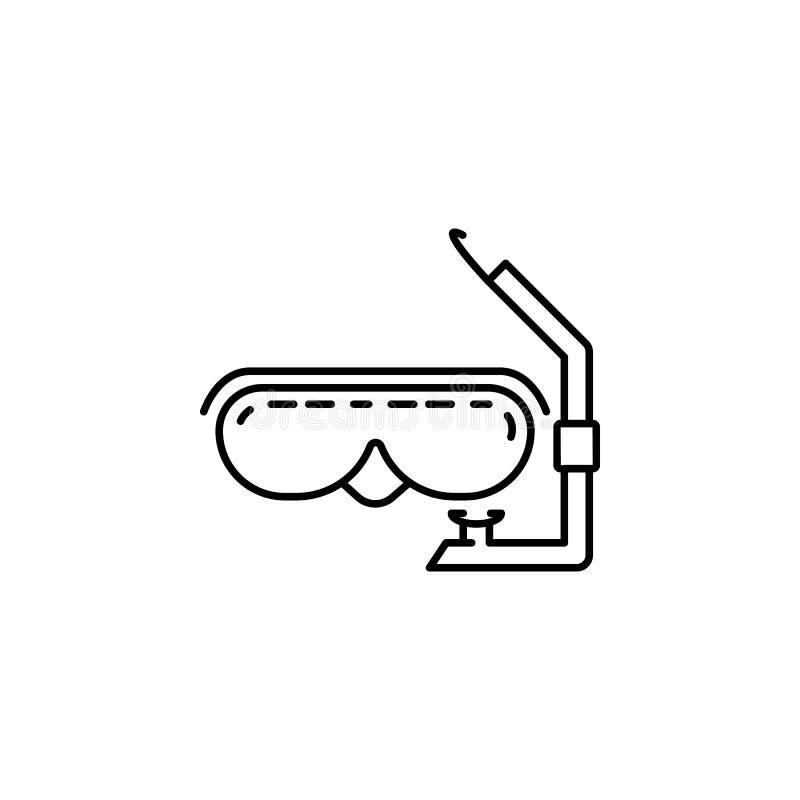 mask för ikon för dykning av skymstil Element för reseikon för mobilkoncept och webbappar Tunn radmask för ikon för dykning av sk royaltyfri illustrationer