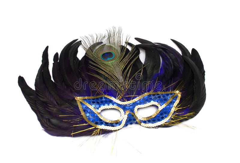 Mask From Feathers On A White Royalty Free Stock Photography
