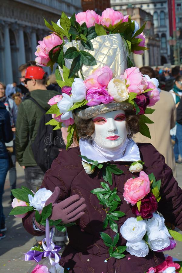 Mask and flowers, Venice, Italy, Europe stock photos