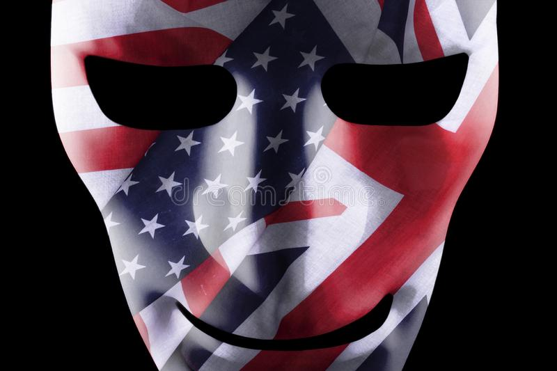 Mask with GB and USA flags overlaid stock illustration