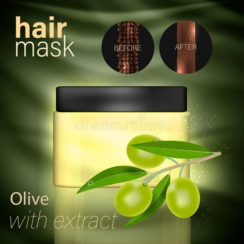 Mask for hair with an extract of olive. Vector royalty free illustration