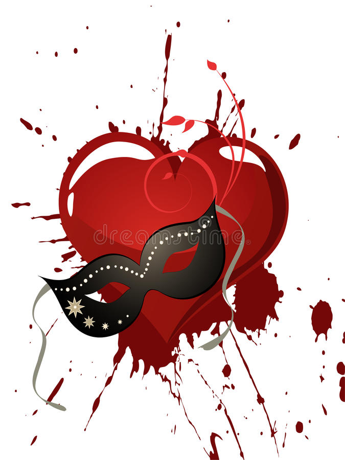 Mask and heart royalty free illustration