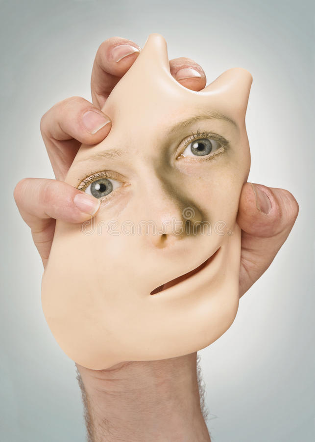Mask with human face. Mask with woman's face identity, beauty, or science concept