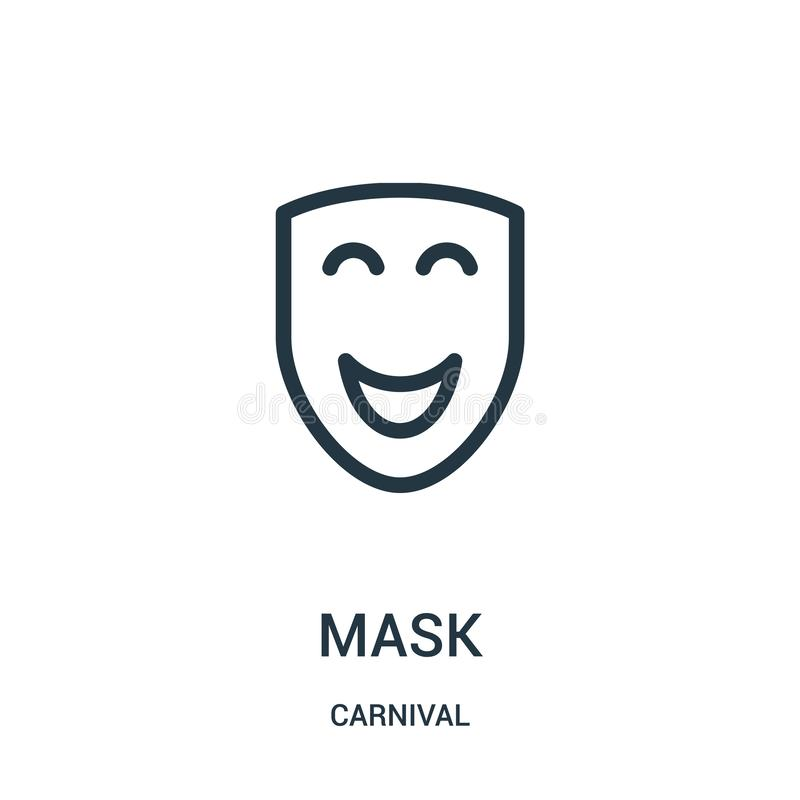 mask icon vector from carnival collection. Thin line mask outline icon vector illustration stock illustration